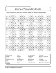 Vocabulary Wordsearch Puzzle